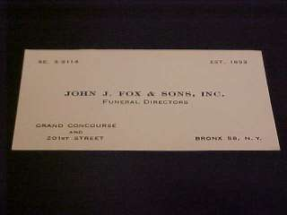 VINTAGE CALLING/BUSINESS CARD JOHN J FOX & SONS FUNERAL DIRECTORS