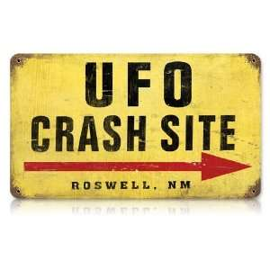 UFO Crash Site Vintaged Metal Sign