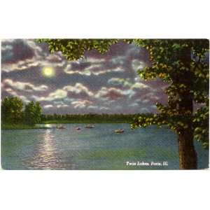 1950s Vintage Postcard   Twin Lakes   Paris Illinois