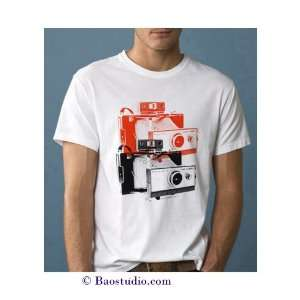 Twin Polaroid Land Camera   Pop Art Graphic T shirt (Mens