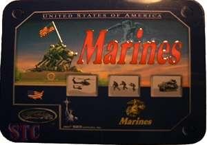 USMC Marine Corps Pocket Knife Lock Back Iwo Jima In Metal