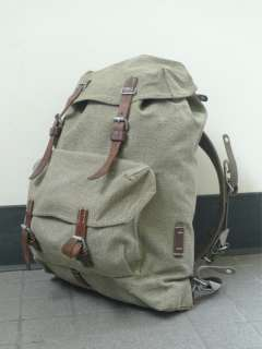 Small SWISS MILITARY ARMY Leather Canvas Rucksack Backpack ORG. PADDED