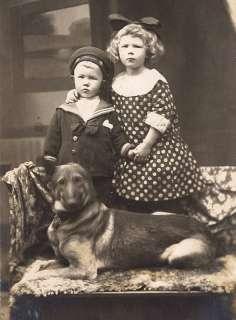 GERMAN SHEPHERD DOG TWO CHILDREN IN PERIOD DRESS PRINT