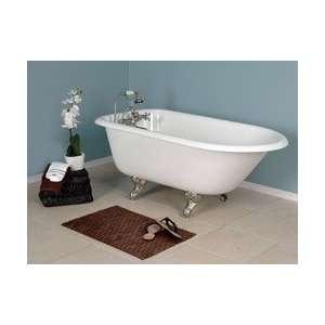 Bella Casa Roll Top Cast Iron Clawfoot Tub BC54R3W White with WH Feet