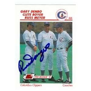 Russ Meyer autographed (Columbus Clippers) Line Drive AAA card