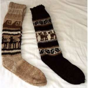 2 pairs SOCKS RUSTIC ALPACA dark brown and light brown