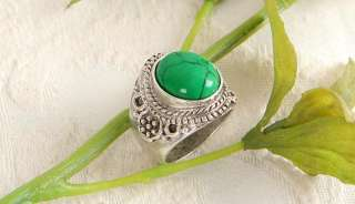 Green Turquoise Sterling Silver Plated Ring g153