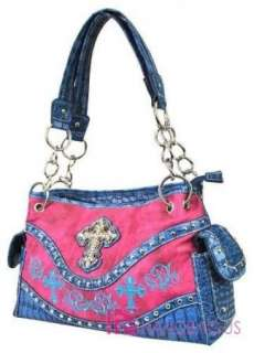 NWT Western Rhinestone Bling Triple CROSS Chain Tote Bag Purse Handbag