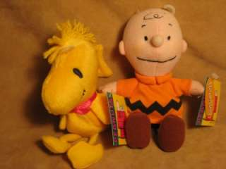 Peanuts Gang CHARLIE BROWN & WOODSTOCK 6.5 BeAN PLuSH DOLLS *NwTs