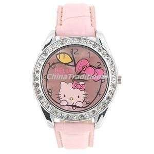 Hello Kitty Portable Leather Wrist Band Girls Watch Pink