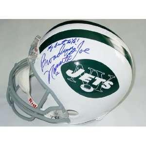 Broadway Joe Namath Autographed Signed Jets Helmet & Proof
