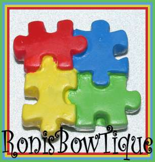 AUTISM AWARENESS PUZZLE PIECE RED BLUE GREEN YELLOW FLATBACK HAIR BOW