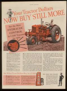 1950 Case farm tractor & farmer photo print ad