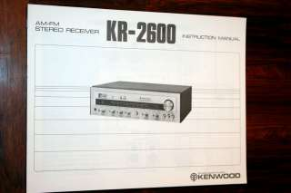 Kenwood KR 2600 Receiver Owners Manual *Original*