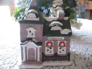 The TOWNHALL Lighted Christmas Village Building Holiday Ceramic House