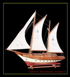 "HANDMADE Wooden Sailing Yacht (Sais are opened) Model ( L22"" x H19"