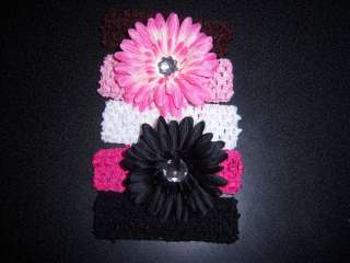 NEW l@@K baby OR girls WHOLESALE LOT 2 gerber DAISY FLOWER HAIR BOW 3