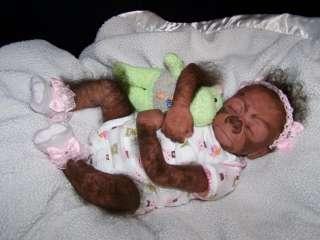 OOAK newborn Reborn baby girl gorilla 18 monkey orangutan art doll No