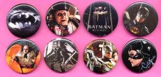 1992 BATMAN Returns Pin Pinback Set 8 Buttons Keaton