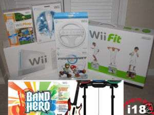 NEW NINTENDO WII+ WII FIT+MARIO KART+Band Hero Bundle 1