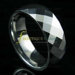 CRAZY 88s 8MM TUNGSTEN CARBIDE RING BAND W 90 FACETS