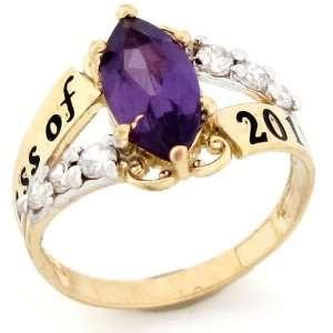 14k Gold June Birthstone Class of 2012 Graduation Ring