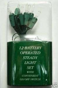 24 Battery Operated Christmas Lights Green Wire   Clear