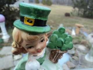 Lefton Pretty Shamrock Girl St Patricks Day Rhinestone Dress Revolving