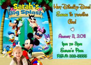MICKEY MOUSE POOL PARTY BIRTHDAY INVITATIONS FIRST