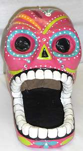 ORANGE PURPLE BLUE & GREEN DESIGNS SKELETON PAPER MACHE CANDY HEAD