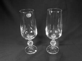 BOHEMIA CZECH REPUBLIC CLAUDIA crystal champagne flutes 2 EXC