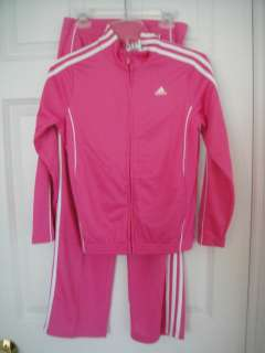ADIDAS NWT Girls 2PC High Flyer Track Suit Jacket Top Pants Pink 7 8