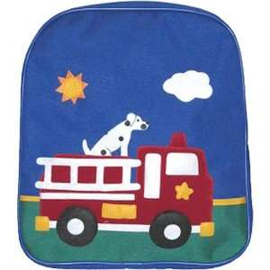 Kids Girls Boys Canvas Blue Fire Truck Backpack item
