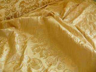 100% SILK DAMASK RAW TEXTURE FLORAL CREAM PUFF GOLD BTY