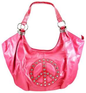Hot Pink Peace Sign Rhinestone Hobo Bag Handbag