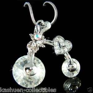 Crystal Cycling ~Bicycle Bike Heart cyclist bicyclist Charm Necklace