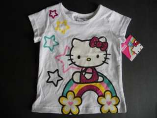 HELLO KITTY Girls 2t 3t 4t 5t SHIRT Top Rainbow