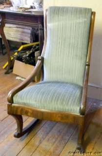 Antique Victorian Walnut Upholstered Baby Rocking Chair