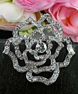 Wedding Bridal 1 7/8 Flower Clear Swarovski Crystals 18KGP Brooch/Pin