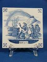 e504 BIBLICAL SCENE ON HANDPAINTED DELFT BLUE TILE