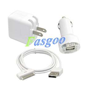 10W Wall Charger Adapter+USB Cable+Car Charger For iPod iPad 1/2