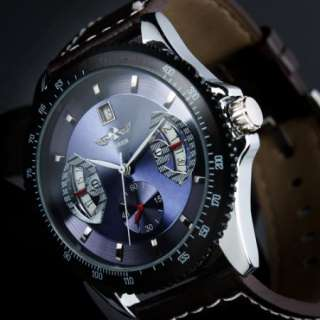 Elegant Mens Automatic Mechanical Leather Band Analog Men Boy Watch