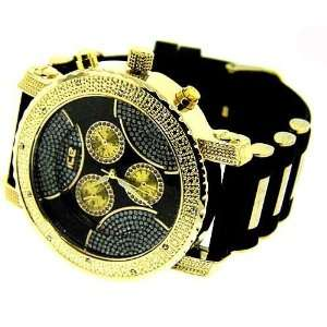 New Men 24k gold plated Iced out hip hop bling watch