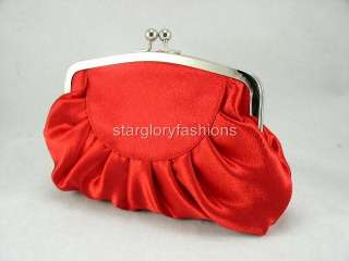 Charming Bridal Red Hot Rose Satin Wedding Purse Clutch