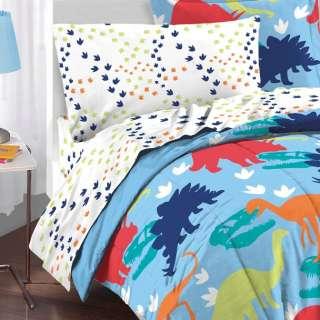 NEW Boys Blue Dinosaur Twin Kid Bedding Comforter Sheet Set