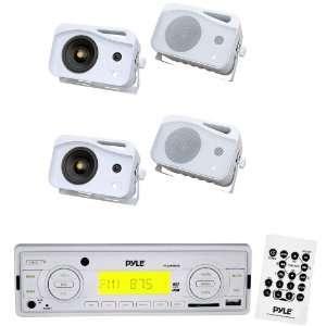 Pyle Marine Radio Receiver and Speaker Package   PLMR88W