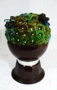 ART DECO MURANO GLASS FLOWER TABLE LIGHT LAMP VTG