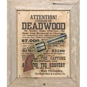 DEADWOOD BARNWOOD FRAMED SET NON FIRING REPLICA GUN