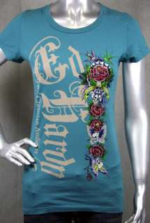 Ed Hardy Butterfly Skull Love and Roses T shirt TEAL