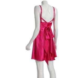 NWT Marc Bouwer GlamIt Pink Satin Pleated Sash Dress 8
